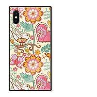 iPhone12mini ケース 強化ガラスケース iPhone12 mini ケース 背面ガラス 四角 TPU 光沢 ツヤ スクエア スマホケース おしゃれ 北欧 花柄 flower フクロウ 葉っぱ 選べる10デザイン D 301-sanmaruichi-