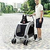NANSHAN✅ PETGERA ++ Carrito de Mascotas para Perros Grande Plegable portátil para Exterior DODOPET De Tiempo Feliz Mascota (Color : Grey)