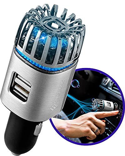 Craftronic 2.0 Ionic HEPA Car Air Purifier - (5.6 million of Negative Ions) Remove Cigarette Smoke & Allergens, Bacteria, Pollutants, Gases (VOCs) + Anti-Microbial Deodorizer Freshener (Silver)