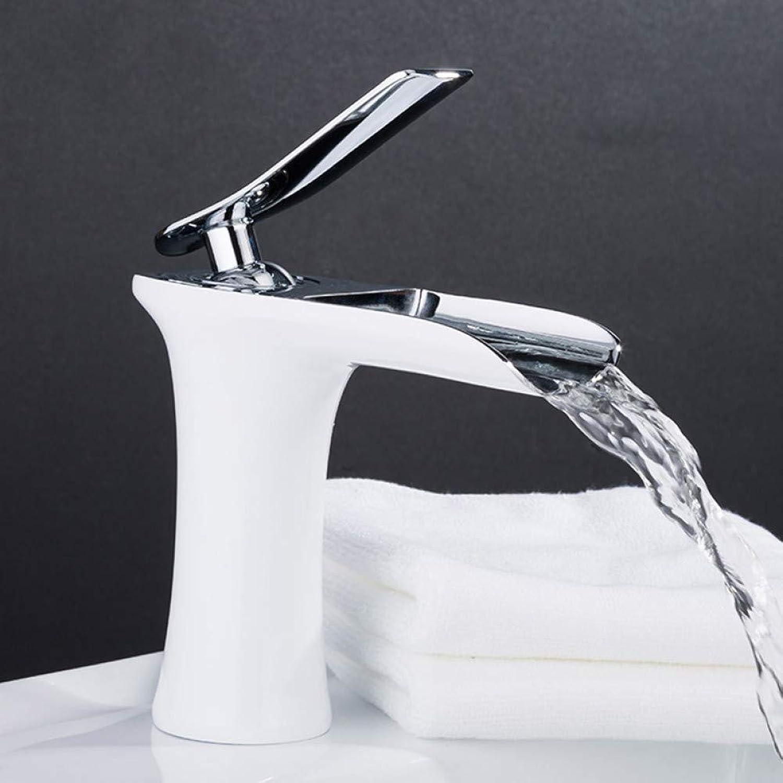 WHFDRHSLT Wasserfall Becken Wasserhahn Messing Mixer Waschbecken Wasserhahn Deck Montieren Bad Wasserhahn