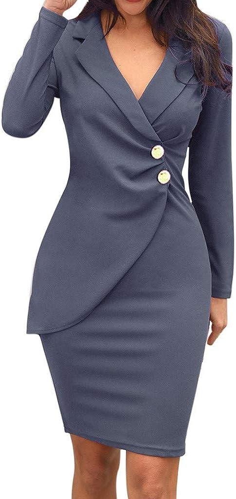 FELZ Mujer Blazer Manga Larga Chaqueta del Traje Mini Vestido Oficina Negocios Parte OL Cuello en V Bot/ón Chaqueta Abrigo Formal Trabajo Vestido Turn-Down Collar Bodycon Vestido de Mujer Color S/ólido