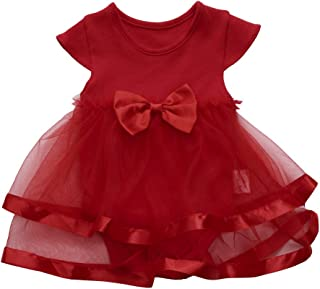 ZEELIY Children's Clothing Baby Girls Infant Birthday Give Your Child The Best Gift ·Short Sleeve Round Neck Tulle Layering Tutu Bow Party Jumpsuit Princess Romper Dress
