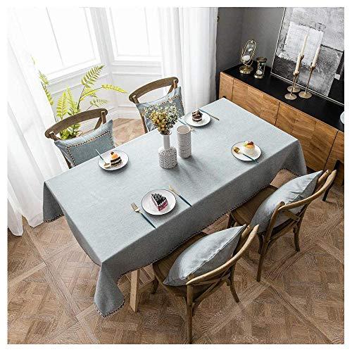 XRXDSY Mantel Rectangular Impermeable Antimanchas de Algodón y Lino, 110x160cm Mantel Mesa Lavable,Manteles Mesa Decorativo para Hogar Comedor del Cocina,Gris
