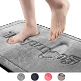 Memory Foam Bath Mat Large Size 20x 30 Inch Maximum Absorbent Soft Shaggy Superfine Fiber Villi Rug Nonslip Grey Foam Bath Tub Mat Runner for Bathroom Machine Washable Embroider Mat