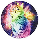 HEVITDA Mouse Pad, Premium-Textured Mouse Pads, Personalized Lucky Champion Cat Design Round Mouse Mat Custom for Cute Women, Girls, Non-Slip Rubber Mousepad with Stitched Edge for Computers Laptop
