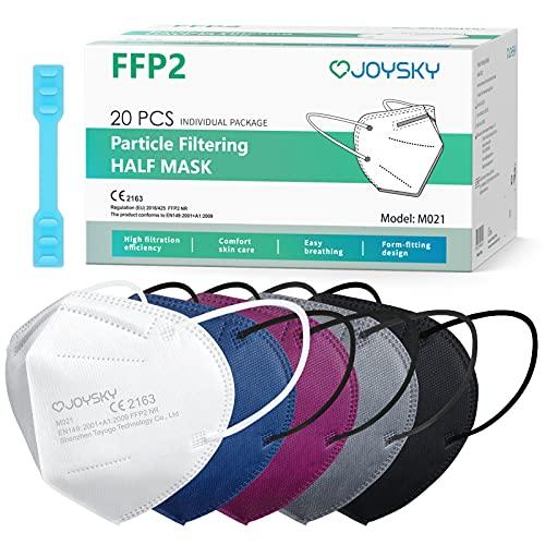 JOYSKY Mascarillas Faciales Desechables FFP2, 20pcs Mascarilla de Protección de 5 Capas, Mascara de Filtración Multicapa Antipolvo para Boca y Nariz de Colores