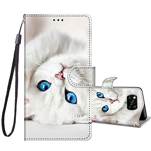 JRIANY Klapphüllen für Xiaomi Poco X3 NFC/Poco X3 Pro Leder Hülle, Handy Lederhülle PU Silikon Flip Hülle Cover Brieftasche Handytasche [ Kartenfach Klappbar ] Stoßfest Schutzhülle, Weiße Katze