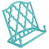 Home Basics Cast Iron Moroccan Lattice Cookbook Stand Holder, 10.5 x 5.5 x 9 Inches (Turquoise)