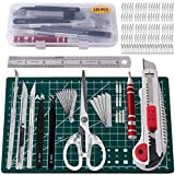 135 Pcs Craft Knife Art Knife Hobby Knife kit,lncluding-Stencil Knife,Craft Tools,Various Carbon Steel Blades+Storage Case(Multi-Purpose)