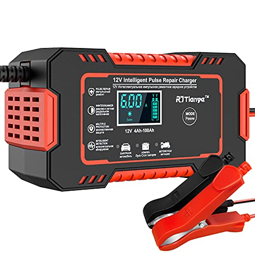 Car Battery Charger, 12V 6A Smart Battery Trickle Charger Automotive 12V 24V Battery Maintainer Desulfator with Temperature Compensation for Car Truck Motorcycle Lawn Mower Marine Lead Acid Batteries