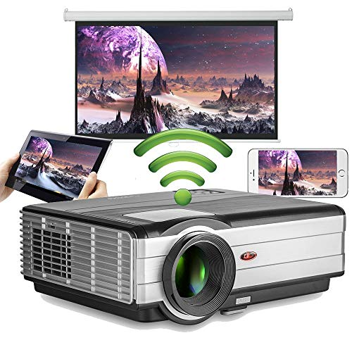 Slimme videoprojector Android Wifi LED Home Theater Outdoor 4200lm Ondersteuning HD 1080P Airplay Plafondzoom HDMI USB-projectoren met luidsprekers voor smartphone Laptop TV Xbox PS4 Game Movie