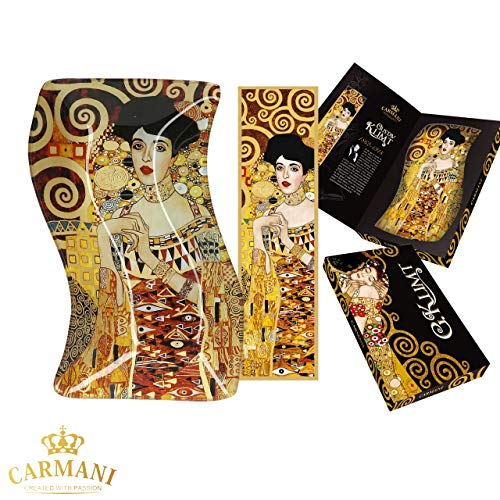 CARMANI - Assiette en verre décorative Rectangle ondulé, plat de fete, noix, assiette de service imprimée avec la peinture «Adele» de Gustav Klimt 18x12.7cm