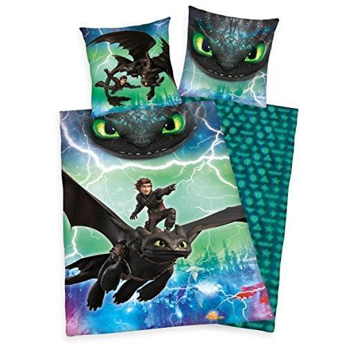 Dragons Bettwäsche glatt Drachen LEUCHTET IM Dunkeln 135 x 200 cm Geschenk NEU Wow - All-In-One-Outlet-24 -