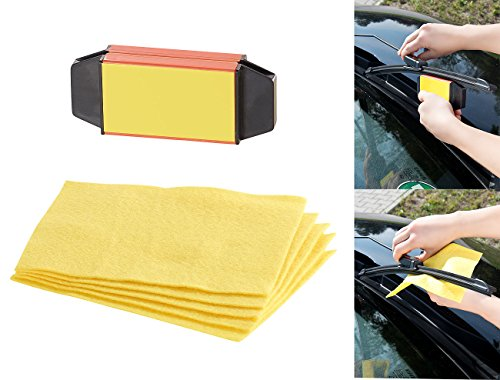 Preisvergleich Produktbild PEARL Scheibenwischerschneider: Scheibenwischer-Riefenentferner mit 5 Vliestüchern (Scheibenwischer Nachschneider)