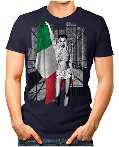 Legendary Items™ - Italy-Soccer-Girl - Herren T-Shirt EM 2020 Fußball Trikot Sexy Frau Italien Italia Vintage Navy M