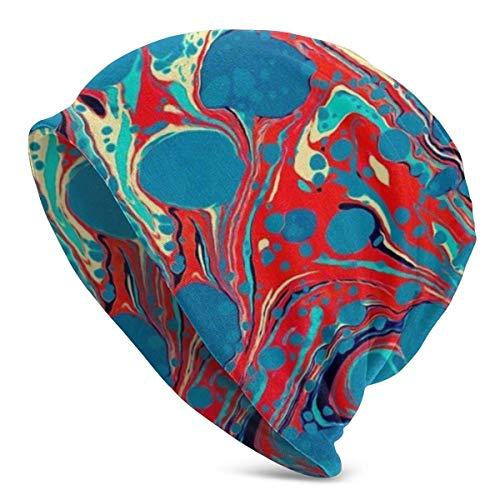 Knitted Beanie Hat .Ski Skull Cap Unisex Beanie Caps Psychedelic Blau Rot Marmoriertes Papier Splash Painting Erwachsene Comfortbale Soft Slouchy Kollektion Strickmützen Schädelkappe