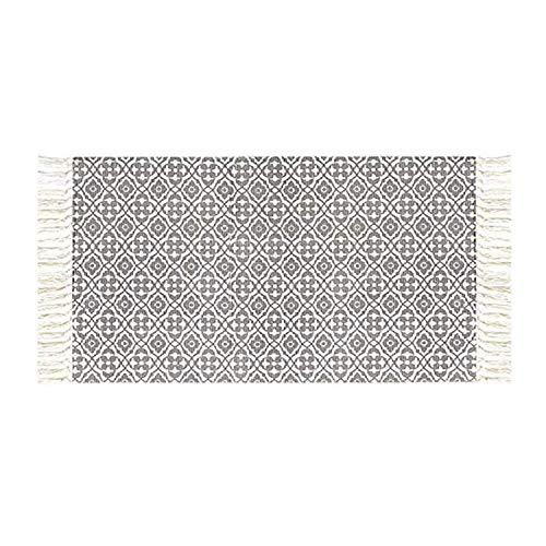 Pauwer Baumwollteppiche mit Quasten Handgewebte Bedruckte Teppich Rutschfest Abwaschbar Bereich Teppich für Schlafzimmer, Küche, Waschküche,60x90cm