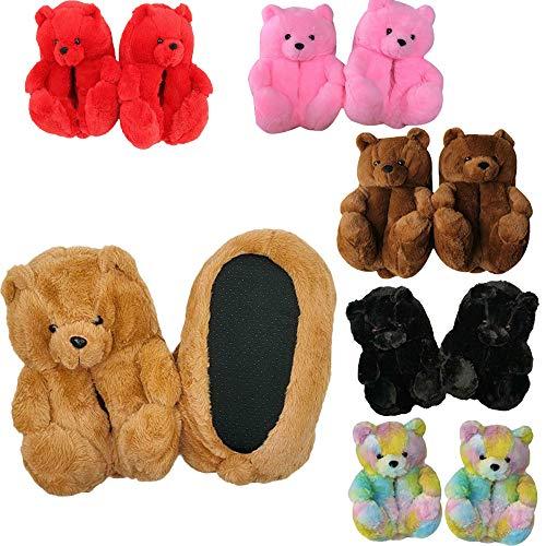Gsdxz Plush Teddy Bear Cartoon Slippers,3D Teddy Bear Plush House Slippers Indoor Soft Anti-Slip Faux Fur Cute Cozy Warm Slippers (Red)