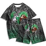 Camiseta de Dos Piezas de Moda + Pantalones de Playa Moda de Verano para Hombre con Estampado en 3D de la Serie de Perros patrón Camiseta Traje Hombres y Mujeres Camiseta Casual-F_XXL