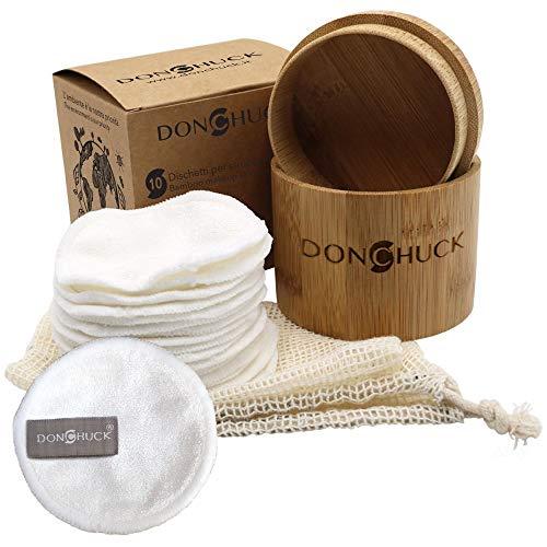 Dischetti Struccanti Lavabili Bamboo 100% Riutilizzabili, 10 Pezzi in Fibra di Bamboo da 8cm, Salviette Struccante Viso e Occhi in Fibra Bamboo, Spugnette per Pulizia Viso, Make Up e Scrub Donchuck
