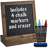 Vintage Rustic Wood Tabletop Chalkboard: Includes 4 Liquid Chalk Markers 10x 10 - GPP-0014