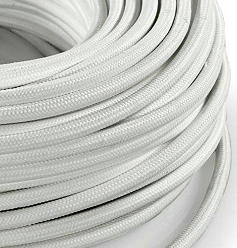 Câble électrique en tissu rond Rond Style Vintage avec revêtement coloré Blanc H03VV-F section 3 x 0,75 pour lustres, lampes, abat jour, Design. Fabriqué en Italie
