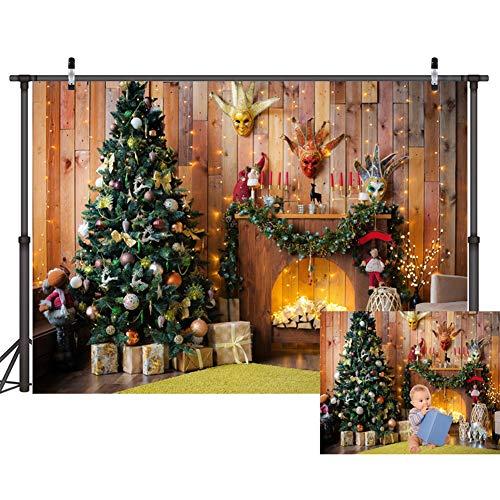 WQYRLJ 3D Fotografie Achtergrond, Kerst Lantaarn Speelplaats Straat Boom Foto Achtergrond voor Kinderen Volwassen Festival Partij Youtube Studio Props