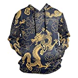 Fashion Chinese Style Color Gold Dragon Pullover Sweatshirts for Women Winter Thin T-Shirt Hooded Teen Size M