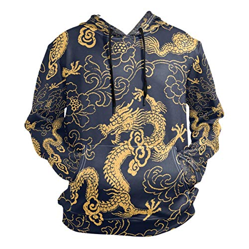 Chinese Style Color Gold Dragon Fashion Sweatshirt Hoodie Men Pullover Seasonal Spring Thin Clothes Size XXL