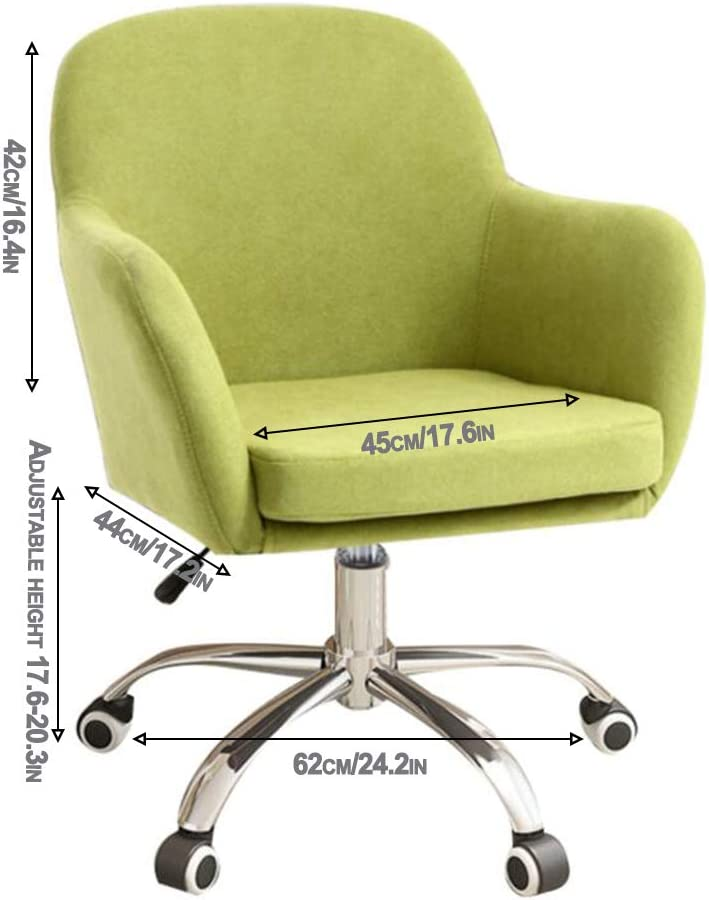 QHF Chaise de Bureau Ergonomique Chaise de Bureau Siège Ergonomique en Velours à Dossier Moyen avec Repose-Pieds en Acier Cinq étoiles et Roulette muette Green