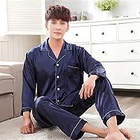シーム ナイトウェアシャツパンツ睡眠パジャマセット長袖寝室春秋シルキーナイトガウンローブ服 (Color : Male, Size : X-Large)