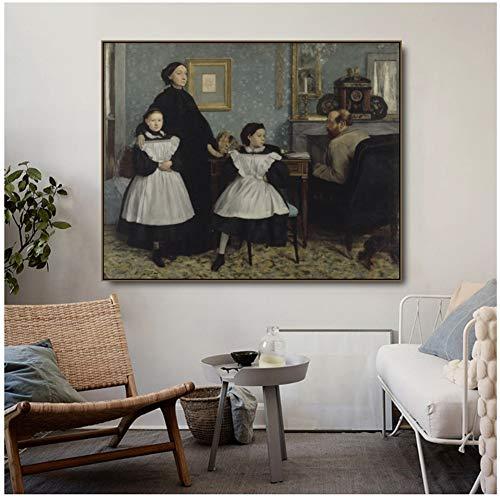 Preisvergleich Produktbild yhyxll Die Familie Bellelli von Degas Leinwand Malerei Poster Drucke für Wohnzimmer Schlafzimmer Wandbilder Home Art Decor-70x90cm No Frame