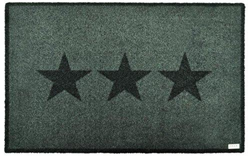 Zala Living Grau Stern Fußmatte Schmutzfangmatte Sauberlaufmatte Türmatte Dekomatte, Polyamid, 50 x 70 x 0,7 cm