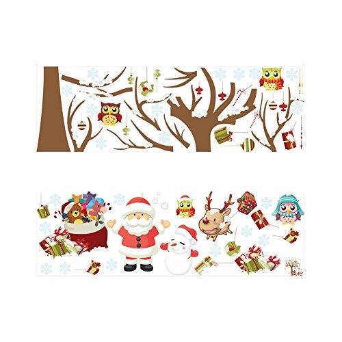 Demarkt 1 Pcs Nouveau Sapin de Noël père Noël Stickers muraux décoratifs Enfants Chambre Fond Mur Maison Verre Stickers muraux(coloré) 88 * 80cm