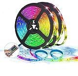 Lebandwit LED Leuchtstreifen, 10m RGB 5050 LED Streifen Kit mit Fernbedienung, Farbwechsel Leuchtband mit 12V Adapter für Schlafzimmer, Zimmer, Küche, Bar