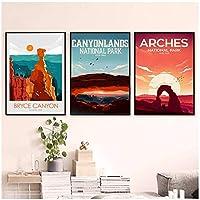 ポスター壁アート絵画キャニオンパークキャンバスポスタープリント部屋の装飾のための有名な景色の写真-50x70cmx3フレームなし