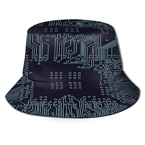 TTLUCKY Angelhut Fischerhut,Leiterplatte Hintergrund Vektor Elektronischer Hintergrund,Bonie Safari Sonnenhüte zum Wandern im Freien für Männer und Frauen
