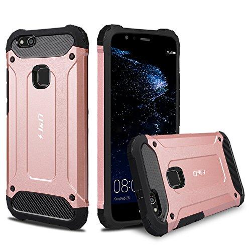 J&D Kompatibel für Huawei P10 Lite Hülle, [ArmorBox] [Doppelschicht] [Heavy-Duty-Schutz] Hybrid Stoßfest Schutzhülle für Huawei P10 Lite - [Nicht für Huawei P10/Huawei P10 Plus] - Rose Gold