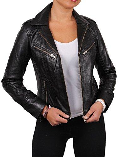 BRANDSLOCK Damen Bikerjacke aus Leder aus echtem Lammleder mit verwaschenem Waxed Effect Asymmettric BNWT (5X-Large 22)