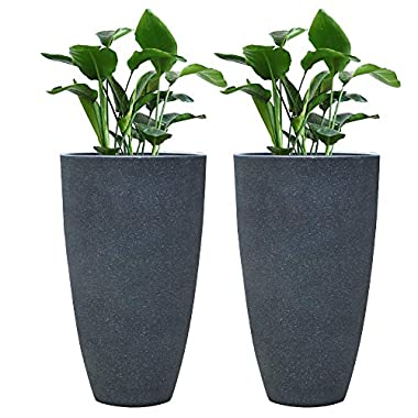 Tall Planter Set 2 Flower Pots, 20  Each, Patio Deck Indoor Outdoor Garden Planters, Gray