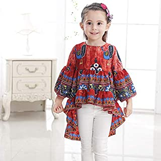 Fragil Tox Tops Kid Girls Peacock Printed Round Neck Bell-Sleeve Tops Red Multi Medium 100
