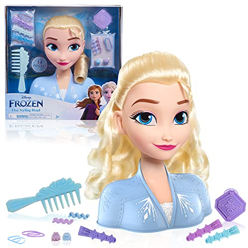 Disney Frozen 2 Elsa Styling Head, 14-Pieces Include Wear and Share Accessories, Blonde, Hair Styling for Kids by Just Play
