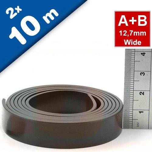Magnetband Magnetstreifen selbstklebend mit Premium-Kleber - 1,5mm x 12,7mm jeweils 10m - Set aus TYP A und B