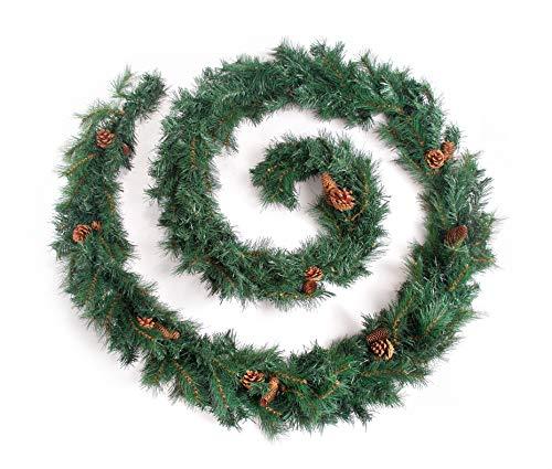 Best Artificial 12ft (3.6m) Colorado Pine Christmas Garland with 20 Pine Cones Indoor Xmas 290 Tips