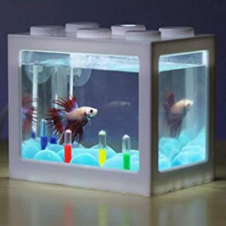 Hosss 水槽セット メダカ 水槽 メダカ 水槽 セット 静音 ミニ水槽 静かなメダカ飼育セット LEDライトはランダムカラー (LEDライトあり) (水槽外ーホワイト)
