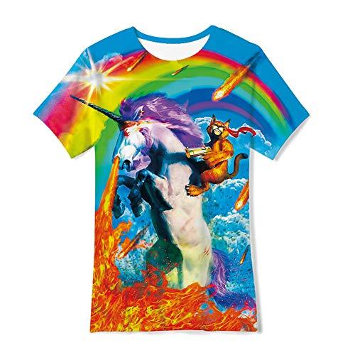 6-8 Ans Enfants 3D Galaxy Licorne Imprimé Nouveauté T-Shirt Coloré Cheval Cool Graphique Tee...