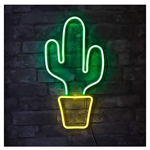 YUNR Night Light Nacht Licht Kaktus Neonlichter Zeichen USB Betrieben LED Kaktus Lampe Neon Lichter Wanddekoration Für Schlafzimmer,Wohnzimmer,Weihnachten,Party Als Kinder Geschenk