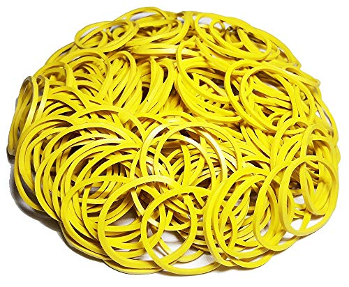 200Pcs 1 25mm Small Rubber Bands Multicolor Bulk Elastic Wide Money Colorful Rubber Bands Ring Stationery Holder Sturdy Strong Stretchable Band Loop School Home Bank Office Supplies (Yellow)