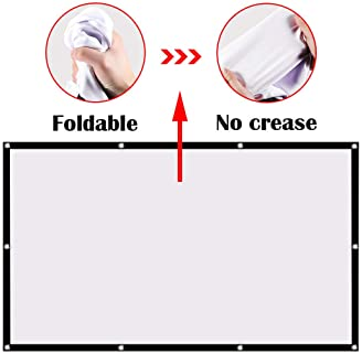 Ylife Projector Screen, 16:9 HD 4K No Crease Portable Video Projection Movie Screen Grommets for Home Theater Outdoor...