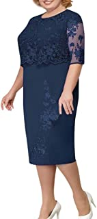 ReooLy Women Vintage Lace Bodycon Pencil Evening Party Dress